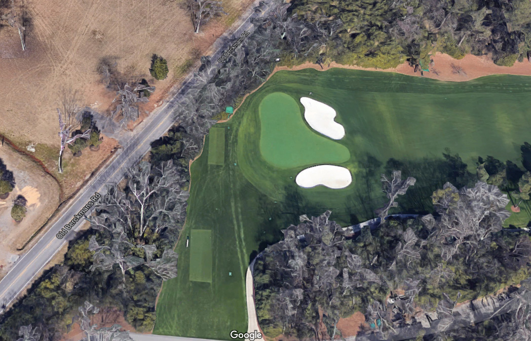 The green on Augusta National's 4th hole and the tee box on the 5th.