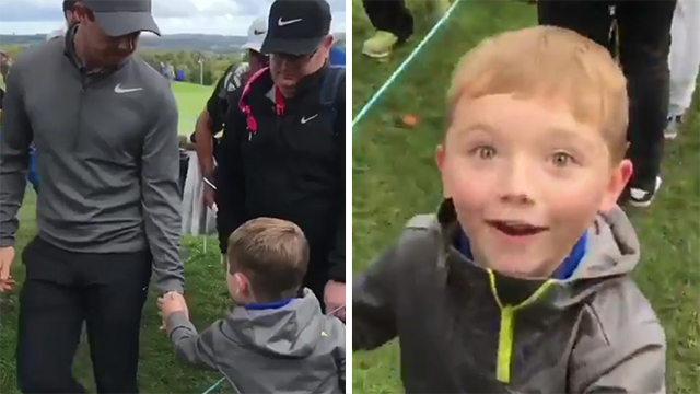 Rory McIlroy gives his ball to a young boy at the British Masters, makes a fan for life