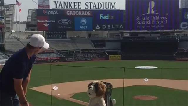 Rory McIlroy takes some swings at Yankee Stadium ahead of PGA Tour playoffs