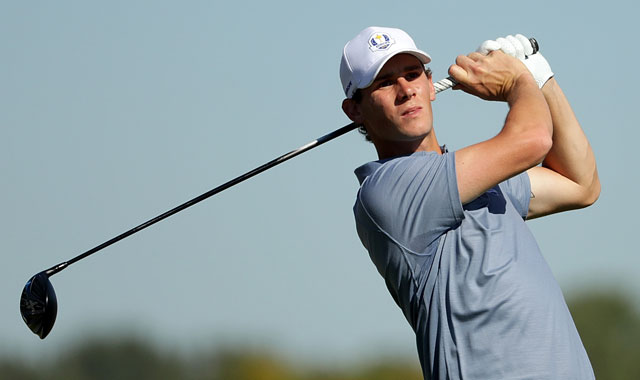 Thomas Pieters drives the green on 407-yard hole at Dunhill Championship